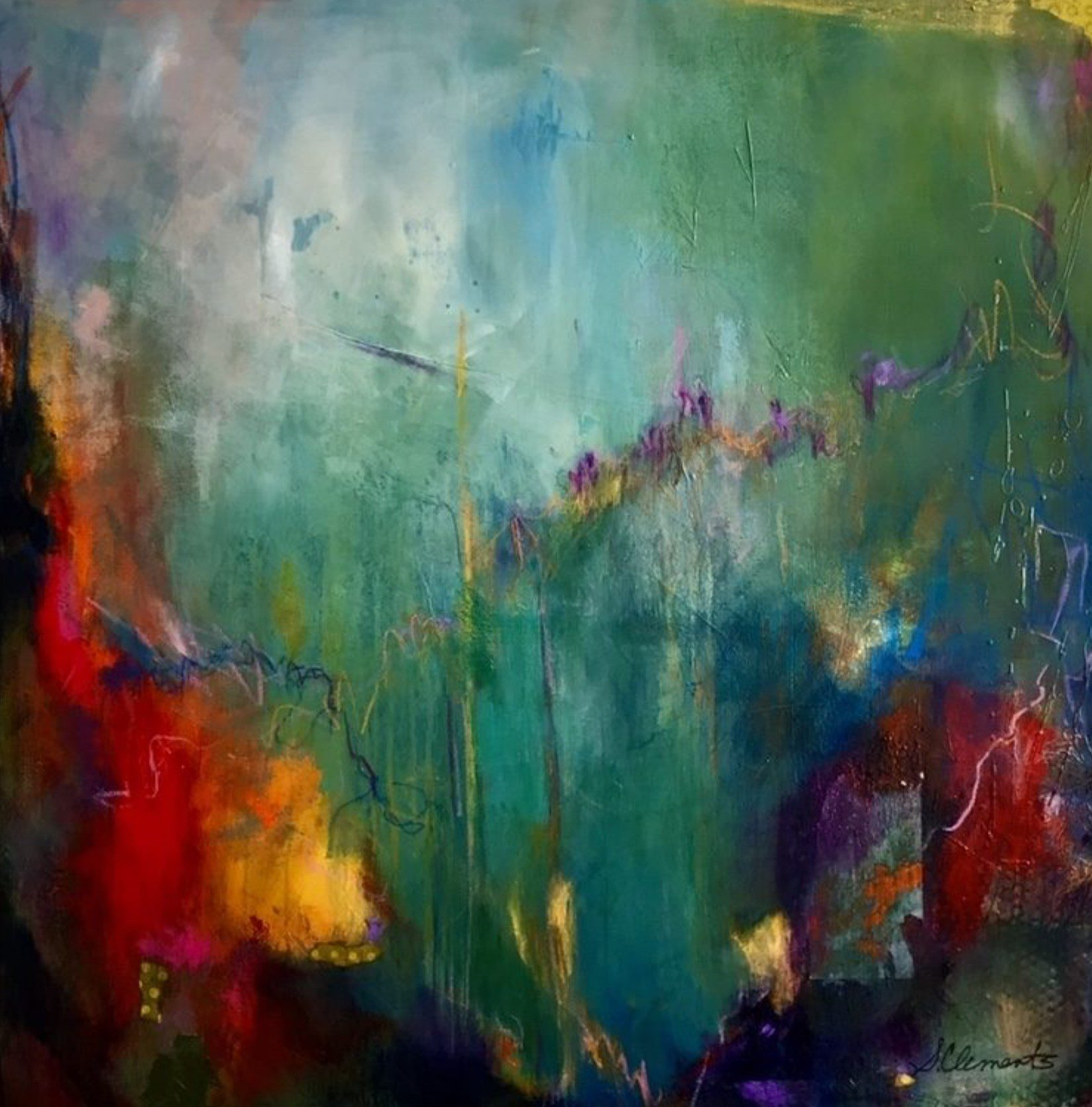 """THE SPACE BETWEEN (mixed media, 36 x 36"""")"""